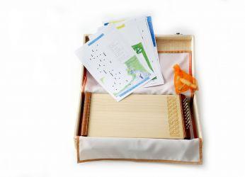 Kleine Tischharfe mit Decke, Koffer, Stimmschlüssel und Unterlegblättern
